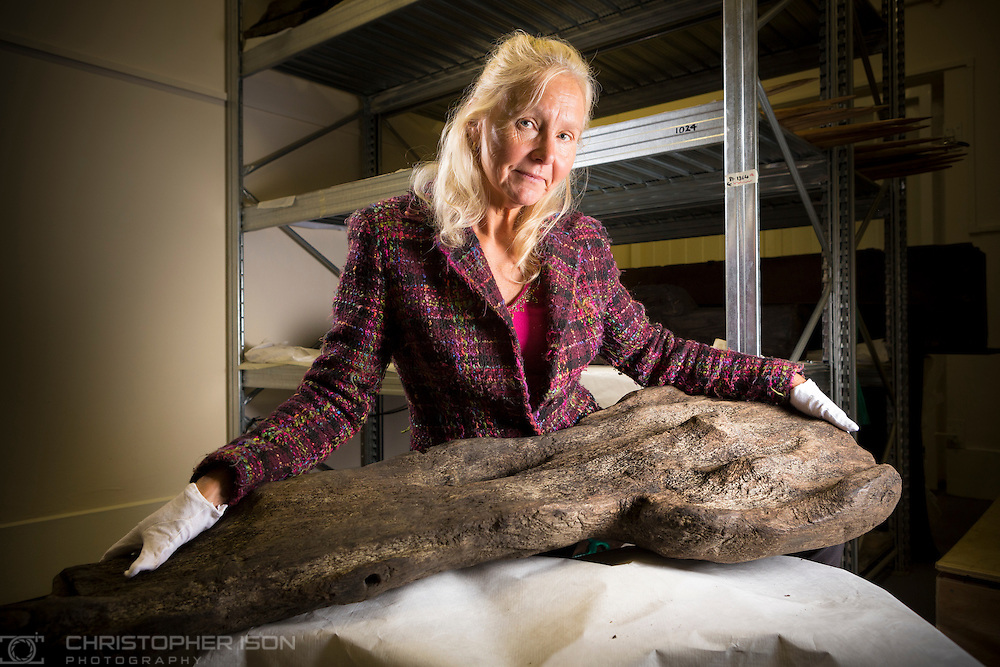 Alex Hildred, Maritime Archaeologist, pictured with the Tudor Rose emblem which was discovered on the wreck of Henry VIII's flagship, the Mary Rose. Experts believe it was fixed at the bow of the famous ship and was an early type of figurehead.<br /> Picture date: Wednesday June 29, 2016.<br /> Photograph &copy; Christopher Ison for the National Museum of the Royal Navy.<br /> 07544044177<br /> chris@christopherison.com<br /> www.christopherison.com