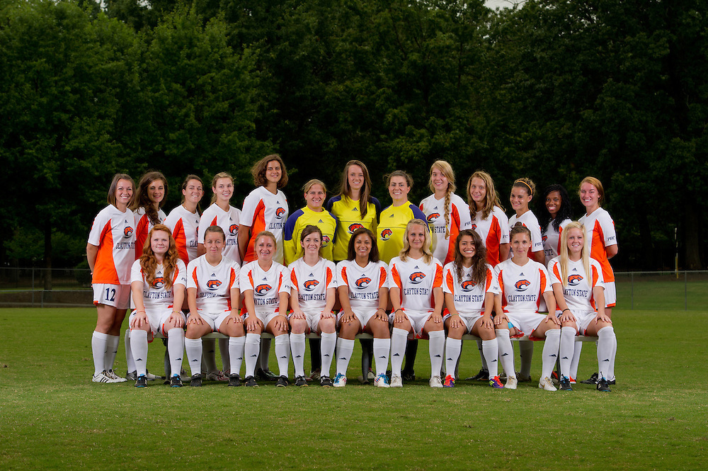 Aug 18, 2012; Morrow, GA, USA; Clayton State University's women's soccer players Kasi Cross, Charlotte McCormack, Laoise O'Driscoll, Lorna O'Connell, Emily Walling, Silvia Espelt, Josefine Holsten, Alicia Robinson, Lea Notthoff, Pearl Slattery, Saidhbh Collins, Angela Jolly, Danielle Fletcher, Haley Durham, Natalia Valentine, Becky Brown, Brooke Bortles, Maia Kuhnen, Courtney Hodges, Jency Ramirez, Diro McGruder  during team portraits. Photo by Kevin Liles/kdlphoto.com