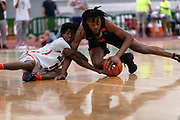 HAMPTON, VA May 26, 2018 - Nike EYBL Session 4. Scott Barnes 2020 #4 of Nike Team Florida battles for the ball. <br /> NOTE TO USER: Mandatory Copyright Notice: Photo by Jon Lopez / Nike