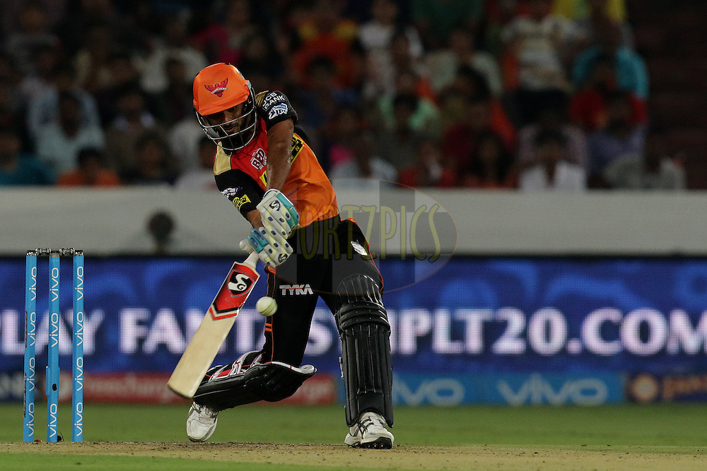 Bhuvneshwar Kumar of Sunrisers Hyderabad plays a shot  during match 22 of the Vivo IPL 2016 (Indian Premier League ) between the Sunrisers Hyderabad and the Rising Pune Supergiants held at the Rajiv Gandhi Intl. Cricket Stadium, Hyderabad on the 26th April 2016<br /> <br /> Photo by Rahul Gulati / IPL/ SPORTZPICS
