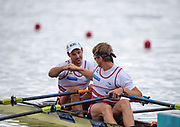 "Glasgow, Scotland, ""2nd August 2018"", Swiss men's Double Scull, SUI M2X, ""Left Nico STAHLBERG"", and ""Right Barnabe DELARZE"", ""Fist Bump"", before the heat of their Double Sculls, at the,  ""European Games, Rowing"", Strathclyde Park, North Lanarkshire,  © Peter SPURRIER/Alamy Live News"