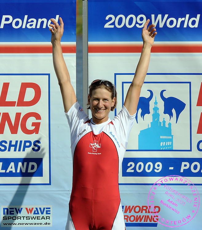 PAMELA WEISSHAUPT (SWITZERLAND) CELEBRATES HER VICTORY AND WINNING GOLD MEDAL IN THE FINAL A LIGHTWEIGHT WOMEN'S SINGLE SCULLS DURING DAY EIGHT OF REGATTA WORLD ROWING CHAMPIONSHIPS ON MALTA LAKE IN POZNAN, POLAND...POZNAN , POLAND , AUGUST 30, 2009..( PHOTO BY ADAM NURKIEWICZ / MEDIASPORT )..PICTURE ALSO AVAIBLE IN RAW OR TIFF FORMAT ON SPECIAL REQUEST.