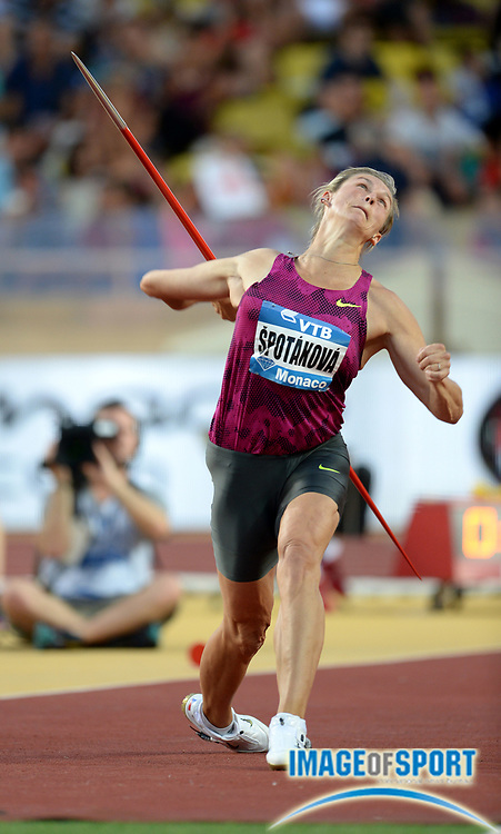 Jul 18, 2014; Fontvieille, MONACO; Babora Sotakova (CZE) wins the womens javelin with a throw of 219-8 (66.96m) in the 2014 Herculis Monaco meeting at Stade Louis II stadium. Photo by Jiro Mochizuki