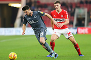 Middlesbrough defender Dael Fry (20) closes down Millwall defender Ben Marshall (44) during the EFL Sky Bet Championship match between Middlesbrough and Millwall at the Riverside Stadium, Middlesbrough, England on 19 January 2019.