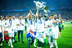 Keylor Navas of Real Madrid, Sergio Ramos of Real Madrid, Karim Benzema of Real Madrid celebrate after they won 3-1 during the UEFA Champions League final football match between Liverpool and Real Madrid and became Champions League  2018 Champions third time in a row at the Olympic Stadium in Kiev, Ukraine on May 26, 2018.Photo by Sandi Fiser / Sportida