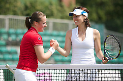 MANCHESTER, ENGLAND: Chloe Murphy and Martina Hingis (SUI) on Day 5 of the Manchester Masters Tennis Tournament at the Northern Tennis Club. (Pic by David Tickle/Propaganda)