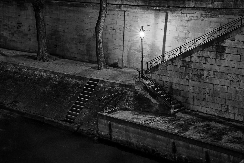 Seine Steps at Night, Paris, France