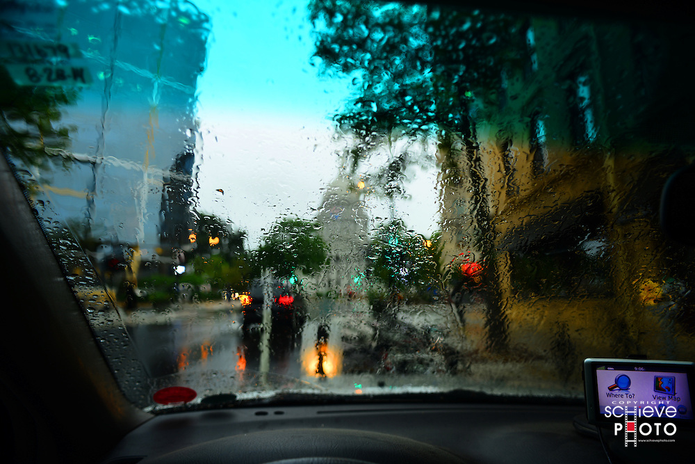 A rainy day on King Street in downtown Madison, Wisconsin.