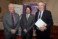 31/01/2014 REPRO free.<br /> From Left CforC Chief Executive Bob Barbour, Matt Fisher, EFQM,   and  Dr Tony Lenehan, F&aacute;ilte Ireland at Galway Bay Hotel for 2013 EFQM IRELAND EXCELLENCE AWARDS AT EUROPEAN EXCELLENCE .<br /> <br /> Levels of recognition include: Ireland Excellence Award, Excellence 5 Star Award, Excellence 4 Star Award, STEPS to Excellence, and Gold Star Service Excellence. The Awards are not an end in themselves but a means of assessing and recognising role model organisations against the most rigorous international quality standards while encouraging management and staff to continue their excellence journey to the next level.