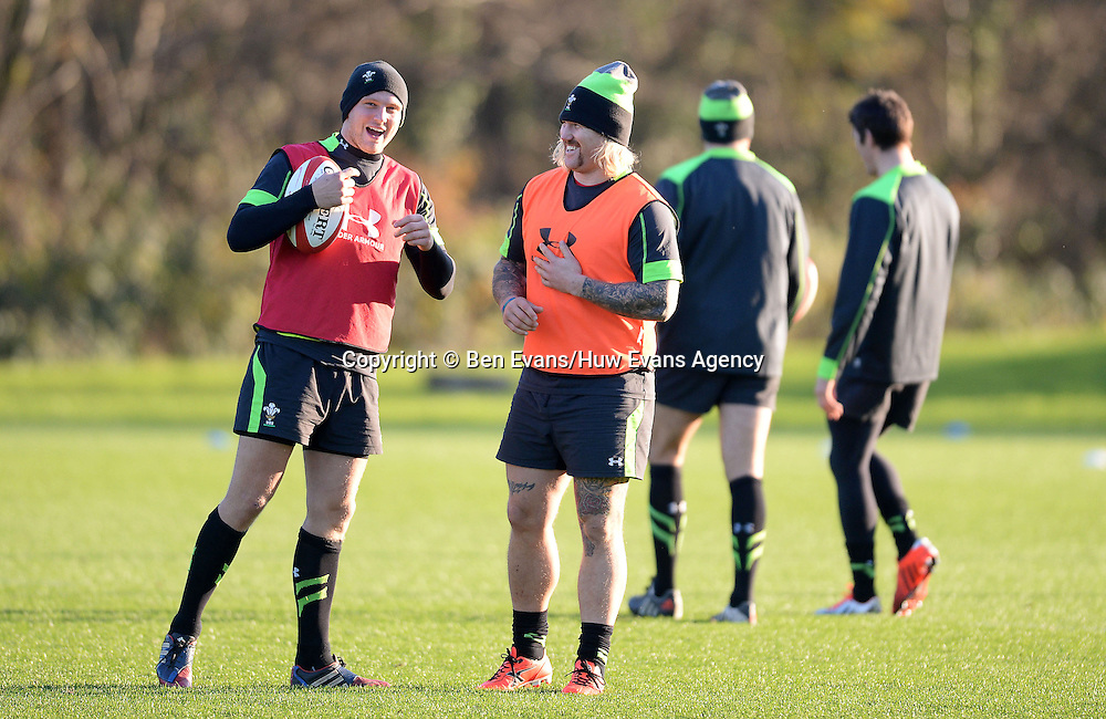 18.11.14 - Wales Rugby Training - Dan Biggar and Richard Hibbard laugh during training.<br /> <br /> &copy; Huw Evans Picture Agency