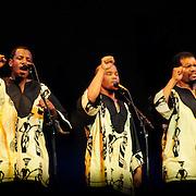 Ladysmith Black Mambazo performing at The Music Hall, Portsmouth, NH. L to R: Joseph Shabalala, Thamsanqa Shabalala, Albert Mazibuko, Ngane Dlamini, Msizi Shabalala, Russel Methembu, Thulani Shabalala, Abednego Mazibuko, and Sibongiseni Shabalala