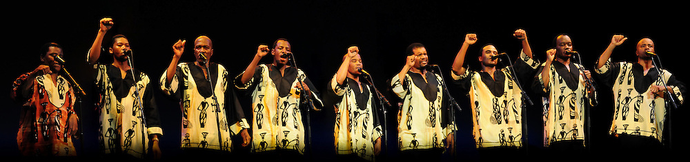 Ladysmith Black Mambazo performing at The Music Hall, Portsmouth, NH. L to R: Joseph Shabalala, Thamsanqa Shabalala, Albert Mazibuko, Ngane Dlamini, Msizi Shabalala, Russel Methembu, Thulani Shabalala, Abednego Mazibuko, and Sibongiseni Shabalala