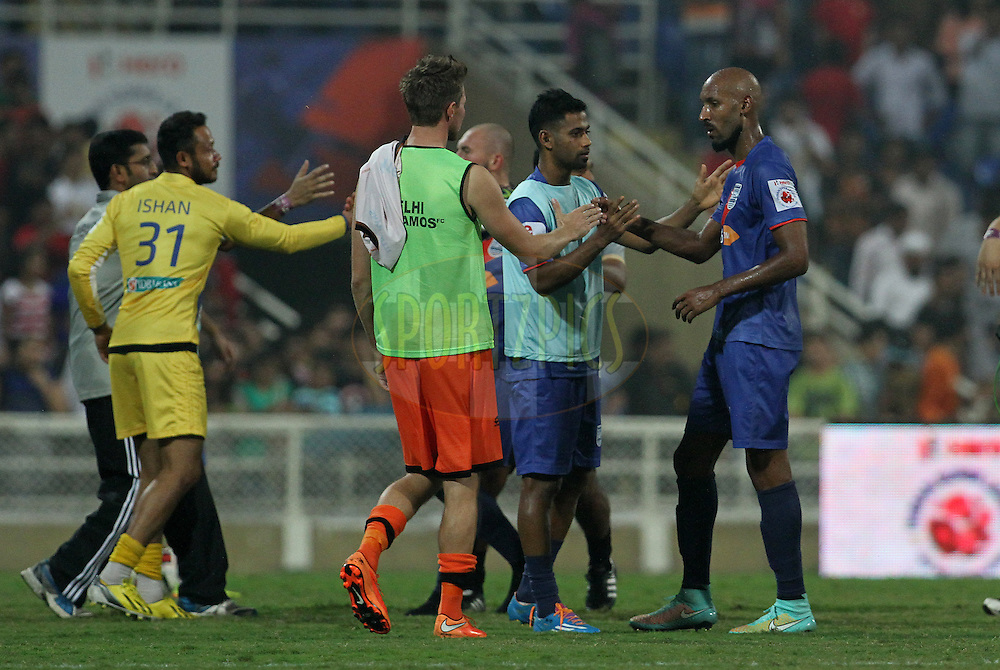 Nicolas Anelka of Mumbai City FC shake hands after winning the match 22 of the Hero Indian Super League between Mumbai City FC and Delhi Dynamos FC City held at the D.Y. Patil Stadium, Navi Mumbai, India on the 5th November.<br /> <br /> Photo by:  Vipin Pawar/ ISL/ SPORTZPICS