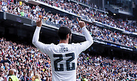 SPAIN, Madrid:Real Madrid's Spanish midfielder Isco Alarcon Celebrates a goal during the Spanish League 2015/16 match between Real Madrid and UD UD Las Palmas, at Santiago Bernabeu Stadium in Madrid on October 31, 2015.