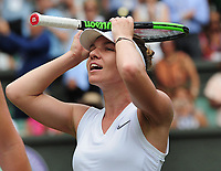 Tennis - 2019 Wimbledon Championships - Week Two, Thursday (Day Ten)<br /> <br /> Women's Singles, Semi-Final: Elina Svitolina (UKR) vs. Simona Halep (ROU)<br /> <br /> Halep celebrates winning the match, on Centre Court.<br /> <br /> COLORSPORT/ANDREW COWIE
