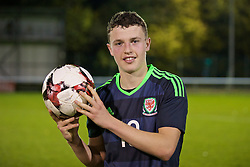 BANGOR, WALES - Tuesday, November 15, 2016: Wales' Nathan Broadhead celebrates his hat-trick with the match-ball after the 6-2 victory over Luxembourg during the UEFA European Under-19 Championship Qualifying Round Group 6 match at the Nantporth Stadium. (Pic by David Rawcliffe/Propaganda)
