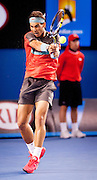 Rafael Nadal of Spain faced Roger Federer of Switzerland in the 2014 Australian Open Mens Singles semifinals. Nadal won the match 7-6, 6-3, 6-3. Nadal faces S. Wawrinka of Switzerland in Sunday's finals.The match was held at Melbourne's Rod Laver Arena.