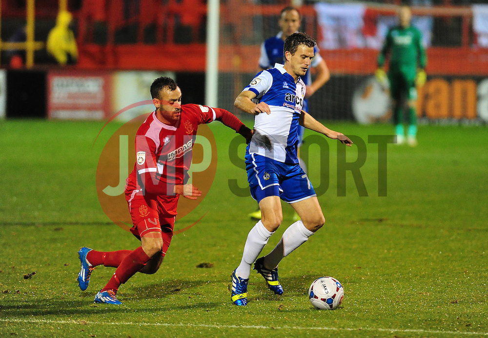 Alfreton Town's Massiah McDonald challenges Bristol Rovers' Lee Mansell - Photo mandatory by-line: Neil Brookman/JMP - Mobile: 07966 386802 - 11/11/2014 - SPORT - Football - Derbyshire - North Street - Alfreton Town v Bristol Rovers - Vanarama Conference