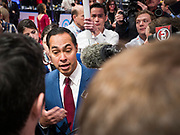 """14 JANUARY 2020 - DES MOINES, IOWA: JULIÁN CASTRO, a surrogate for US Senator Elizabeth Warren, talks to reporters in the """"spin room"""" at the end of the CNN Democratic Presidential Debate on the campus of Drake University in Des Moines. This is the last debate before the Iowa Caucuses on Feb. 3.    PHOTO BY JACK KURTZ"""