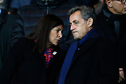 Paris mayor Anne Hidalgo and former French President Nicolas Sarkozy talk during the French Cup, semi final football match between Paris Saint-Germain and AS Monaco on April 26, 2017 at Parc des Princes stadium in Paris, France - Photo Benjamin Cremel / ProSportsImages / DPPI