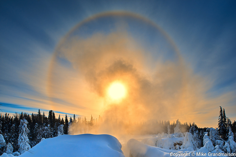 Halo above the Grass River at Pisew Falls<br />Pisew Falls Provincial Park<br />Manitoba<br />Canada