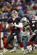 Bills quarterback Drew Bledsoe looks for an open receiver during a 20 to 3 win by the Miami Dolphins over the Buffalo Bills in an NFL Week 16 game in Buffalo on December 21, 2003. Drew was sacked six times while completing only 12 of 24 passes with one interception and no touchdowns. ©Paul Anthony Spinelli