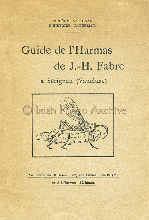 Jean-Henri Fabre (1823-1915) French entomologist.  Cover of booklet published 1933 with illustration showing a parasitic wasp which will lay it's eggs in the caterpillar where they will hatch and live on the victims body.