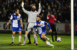 Bristol Rovers' Matty Taylor goes to celebrate his goal - Photo mandatory by-line: Neil Brookman/JMP - Mobile: 07966 386802 - 15/11/2014 - SPORT - Football - Bristol - Memorial Stadium - Bristol Rovers v Kidderminster - Vanarama Football Conference