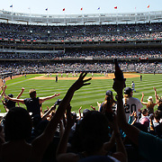 A panoramic view of Yankee Stadium from right field as fans sing YMCA during the New York Yankees V Cincinnati Reds Baseball game at Yankee Stadium, The Bronx, New York. 19th May 2012. Photo Tim Clayton