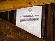 20 MARCH 2017 - BANGKOK, THAILAND: A blockaded door with an eviction notice taped to it in Pom Mahakan. The final evictions of the remaining families in Pom Mahakan, a slum community in a 19th century fort in Bangkok, have started. City officials are moving the residents out of the fort. NGOs and historic preservation organizations protested the city's action but city officials did not relent and started evicting the remaining families in early March.               PHOTO BY JACK KURTZ
