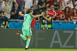 LYON, FRANCE - Wednesday, July 6, 2016: Portugal's captain Cristiano Ronaldo celebrates scoring the first goal against Wales during the UEFA Euro 2016 Championship Semi-Final match at the Stade de Lyon. (Pic by David Rawcliffe/Propaganda)