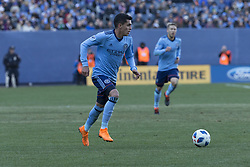 March 11, 2018 - New York, New York, United States - Jesus Medina (19) of NYC FC controls ball during regular MLS game against LA Galaxy at Yankee stadium NYC FC won 2 - 1  (Credit Image: © Lev Radin/Pacific Press via ZUMA Wire)