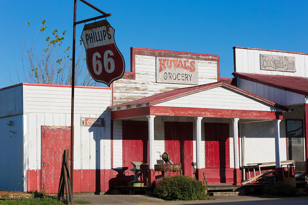 Preservation of Huval's Grocery Store with Phillips 66 sign as retro Cajun culture by Atchafalaya in Louisiana, USA