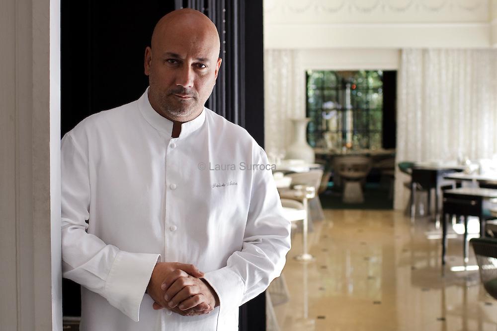 Frédéric Anton, chef étoilé. Restaurant Le Pre Catelan, dans le Bois de Boulogne de Paris, le 25 julliet 2012.