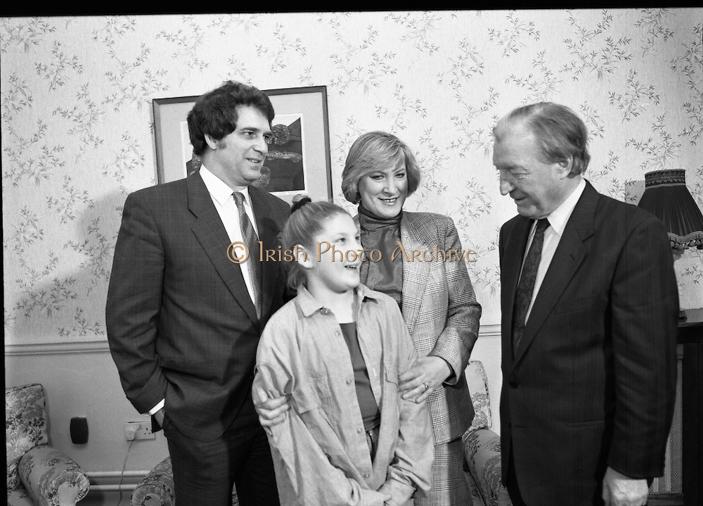 """Guildford Four"" Release Committee.  (R98)..1989..20.03.1989..03.20.1989..20th March 1989..Two of the ""Guildford Four"" release committee met with An Taoiseach, Charles Haughey,in his office in Government Buildings, Leinster House,Dublin today...Image shows Mr Errol Smalley and his wife Teresa, Secretary, Guildford Four Release Committee, and their daughter who met with An Taoiseach, Charles Haughey in his offices today."