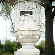 The Cuban Friendship Urn in East Potomac Park in Washington DC. It commemorates the sinking of the USS Maine in 1898 and was presented by the Cuban government to President Calvin Coolidge in 1928. This shot shows the urn itself--it sits on a marble pedestal.