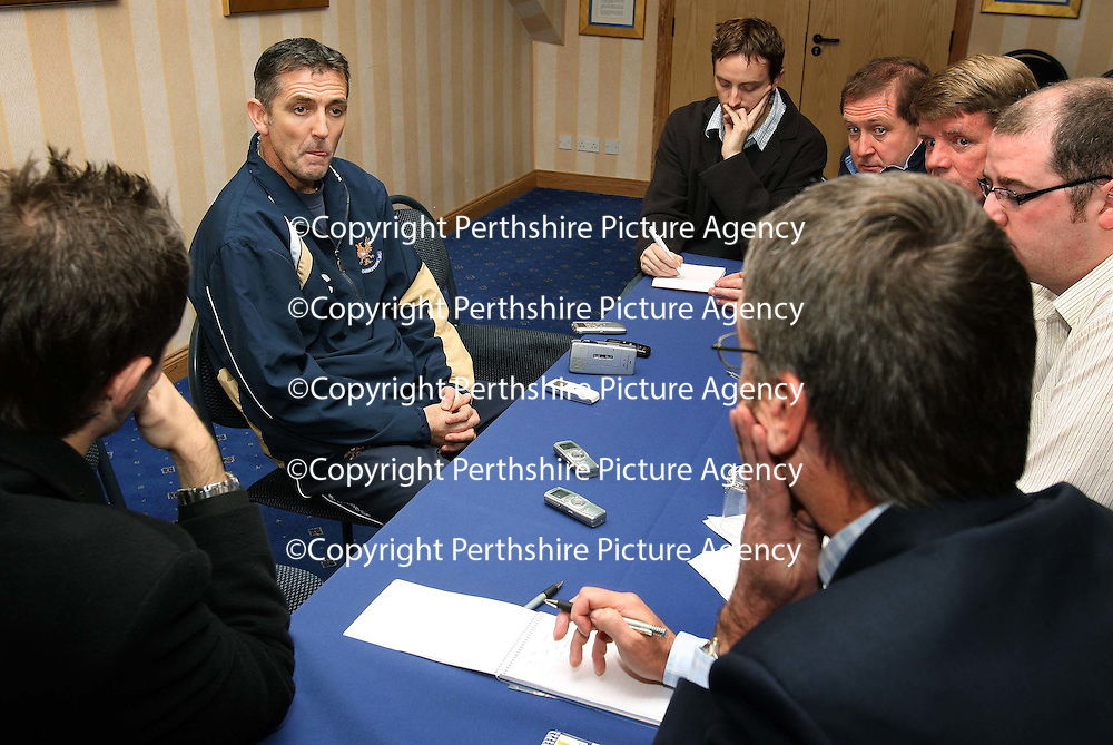 St Johnstone manager Owen Coyle being interviewed ahead of Sundy's Challenge Cup Final. After the interview Chairman Geoff Brown revealed that Burnley had increased their offer to get Owen Coyle as their new boss.<br /> see story by Gordon Bannerman Tel: 01738 553978 or 07729 865788<br /> Picture by Graeme Hart.<br /> Copyright Perthshire Picture Agency<br /> Tel: 01738 623350  Mobile: 07990 594431