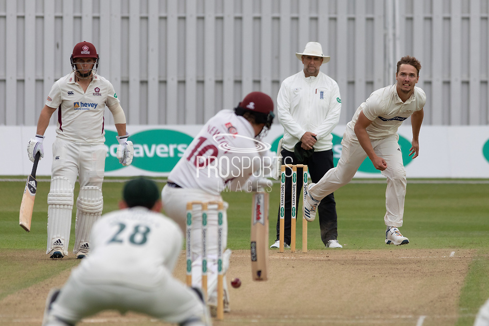 Will Davis bowling  to Rob Newton during the Specsavers County Champ Div 2 match between Leicestershire County Cricket Club and Northamptonshire County Cricket Club at the Fischer County Ground, Grace Road, Leicester, United Kingdom on 12 September 2019.