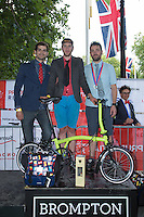 Individual Winners of the Brompton World Championships at the Prudential RideLondon FreeCycle, Saturday 1st August 2015. <br /> <br /> Prudential RideLondon is the world's greatest festival of cycling, involving 95,000+ cyclists – from Olympic champions to a free family fun ride - riding in five events over closed roads in London and Surrey over the weekend of 1st and 2nd August 2015. <br /> <br /> Photo: Paul Gregory<br /> <br /> See www.PrudentialRideLondon.co.uk for more.<br /> <br /> For further information: Penny Dain 07799 170433<br /> pennyd@ridelondon.co.uk