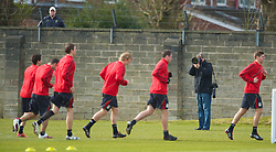 LIVERPOOL, ENGLAND - Wednesday, March 17, 2010: Getty Images photographer John Powell photographs the Liverpool players training at Melwood Training Ground ahead of the UEFA Europa League Round of 16 2nd Leg match against LOSC Lille Metropole. (Photo by David Rawcliffe/Propaganda)