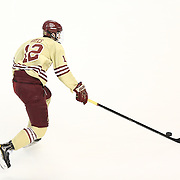 Kevin Hayes #12 of the Boston College Eagles with the puck during The Beanpot Championship Game at TD Garden on February 10, 2014 in Boston, Massachusetts. (Photo by Elan Kawesch)