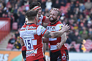 Gloucester winger Charlie Sharples celebrates a try during the Aviva Premiership match between Gloucester Rugby and Wasps at the Kingsholm Stadium, Gloucester, United Kingdom on 24 February 2018. Picture by Alan Franklin.