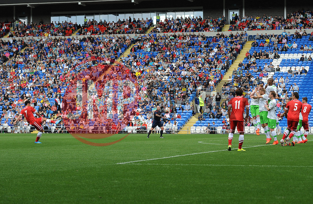 Cardiff City's Peter Whittingham scores a free kick - Photo mandatory by-line: Joe Meredith/JMP - Mobile: 07966 386802 02/08/2014 - SPORT - FOOTBALL - Cardiff - Cardiff City Stadium - Cardiff City v VfL Wolfsburg - Pre-Season Friendly