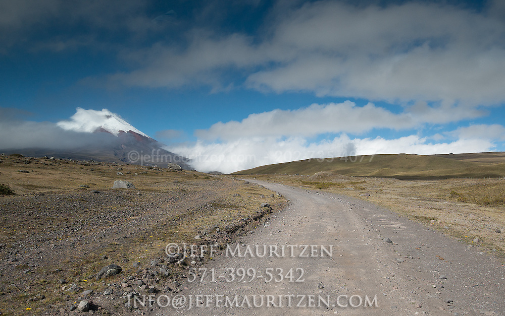 The winding road that leads up Cotopaxi Volcano, Ecuador.