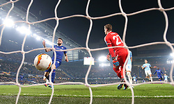 Chelsea's Olivier Giroud (left) scores his side's first goal of the game