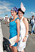 29/07/2013  Trish Kyne Moycullen and Sharon O Toole, Moycullen wearing Milliner Michael Mullins Hats  at the first evening of the Galway Races. Picture :  Andrew Downes