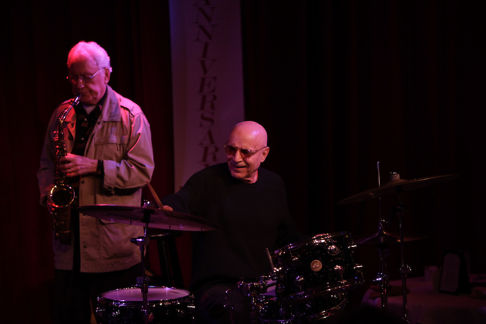 Saxophonist Lee Konitz and drummer Paul Motian  perform at the Birdland Jazz Club on December 8, 2009 in New York City. photo by Joe Kohen for The New York Times