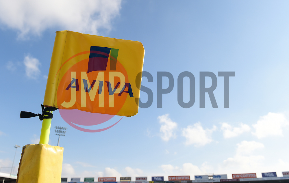 General view of a corner flag prior to the start of the game.  - Mandatory byline: Alex Davidson/JMP - 28/02/2016 - RUGBY - Sandy Park -Exeter,England - Exeter Chiefs v Bath Rugby - Aviva Premiership