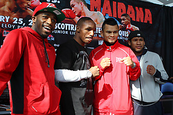 """Feb 23; St. Louis, MO, USA; (L to R) Adrien Broner, Devon Alexander, Marcos Maidana, and Eloy Perez pose during the final press conference for the February 25, 2012 fight card """"Arch Enemies"""".  Mandatory Credit: Ed Mulholland"""