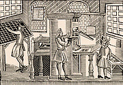 English printing workshop c1719.  On the left the compositor is selecting type from the case.  In the centre the printer is holding the inking pads which he will apply to the type for four pages locked in the chase in front of him.  Woodcut.